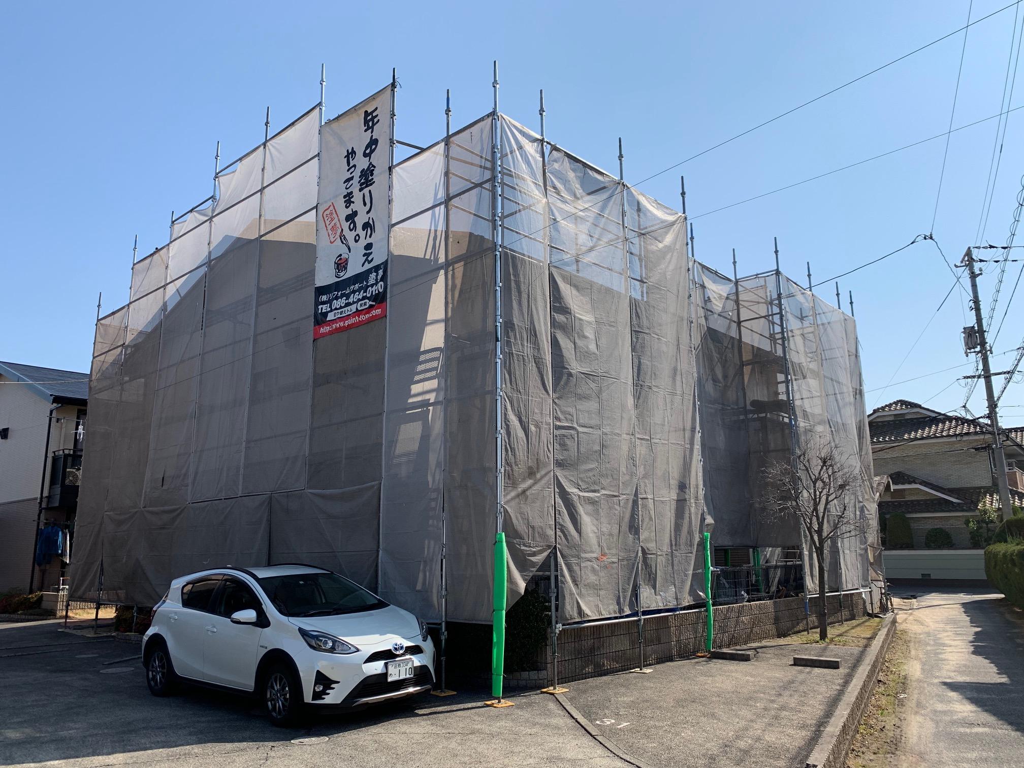 倉敷市四十瀬 アパート塗装 屋根無機塗料 外壁シリコン塗装