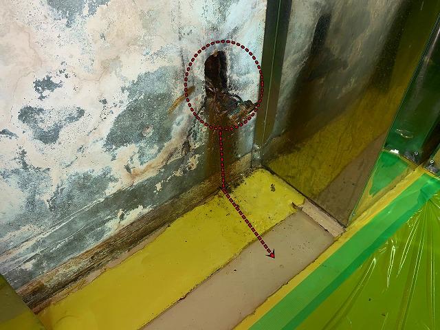 赤磐市大手病院 地下厨房内に雨漏れ 止水工事にてんやわんや
