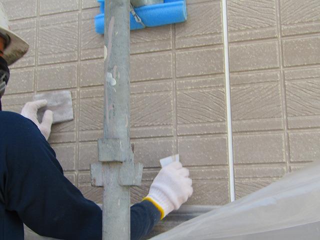 岡山市南区彦崎 無機質系サイディング塗り替え工事 下地処理
